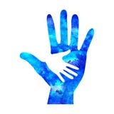 Watecolor商标例证 慈善的标志 在白色背景隔绝的标志手 蓝色象公司,网,卡片 免版税库存图片