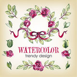 Watecolor Floral Set of Design Elements, Including Stock Photo
