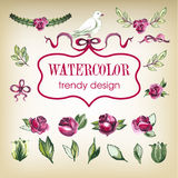 Watecolor Floral Set of Design Elements, Including Stock Photography