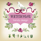 Watecolor Floral Set of Design Elements, Including Royalty Free Stock Image