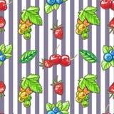 Watecolor Naadloos patroon met bessen en bladeren stock illustratie