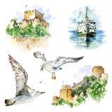 Watecolor st?llde in med den Istanbul slottar, f?rjan och seagulls Handen m?lade best?ndsdelar som isolerades p? vit vektor illustrationer