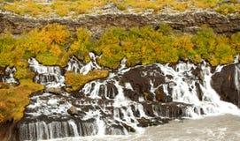 Watefalls volcánicos de Barnafoss en Islandia Imagen de archivo