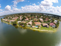 Watefront homes aerial view Stock Photos