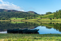 WATENDLATH, LAKE DISTRICT/ENGLAND - AUGUST 31 : Rowing boats moo Stock Photography