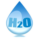 Water. Drop with h2o formula inside isolated over white background Stock Photo
