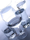 Water. Various types of glasses full of water Stock Images