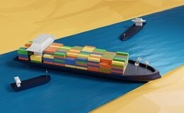 Free Water Accident With Cargo Ship On The Suez Canal, 3d Illustration Or 3d Rendering Stock Photography - 214589062