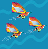Water active recreation. Windsurfing character with surfboard and riding on ocean wave. Windsurfing man isolated vector extreme sport Vector Illustration