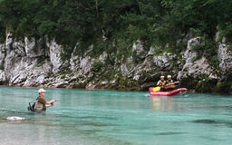Water activities on Soca river , Slovenia stock image