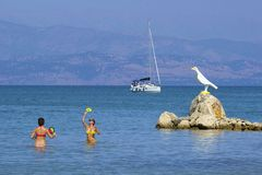 Water activities on beach, Corfu Royalty Free Stock Images