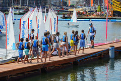 Water activities for children. SAIL Amsterdam 2015 is the largest free public event in the world. An immense flotilla of Tall Ships, maritime heritage, naval Stock Photos