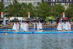 Water activities for children. SAIL Amsterdam 2015 is the largest free public event in the world. An immense flotilla of Tall Ships, maritime heritage, naval Royalty Free Stock Photo