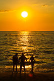 Water activity in the sunset Stock Image
