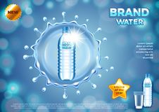 Water ads. Plastic bottle in round splash vector background Stock Photography