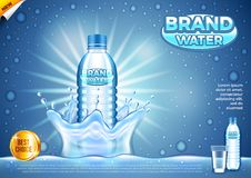 Water ads. Plastic bottle in splashes vector background Royalty Free Stock Photo
