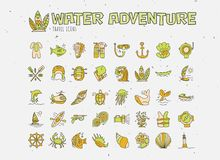 Water adventure vector hand draw icon set. Diving, rafting, kayaking and surfing icons in cartooning doodle style. Travelling adventure summer icon with Stock Photos