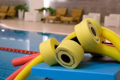 Water aerobics equipment Stock Photo