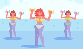 Water aerobics Vector. Cartoon. Isolated art Flat Sport. Water aerobics Vector. Cartoon. Isolated art Flat royalty free illustration