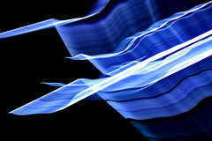 Water in Air. Blue and white lines and waves on the black background. Low shutter captured stock photos