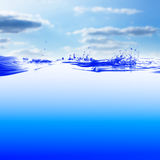 Water. And air bubbles over sky background Royalty Free Stock Photography