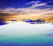 Water. And air bubbles over sky background Royalty Free Stock Photos