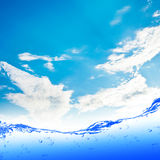 Water. And air bubbles over white background Royalty Free Stock Photo