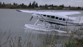 Water plane floating moving propeller. Water airplane gatting ready to take off stock video footage