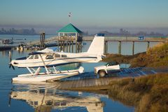 Water airplane  half car beautiful landscape Stock Image