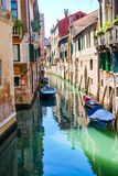 Water alley. Corner of Venice with gondolas Stock Images