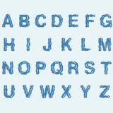 Water Alphabet. Water blue Alphabet Vector illustration Royalty Free Stock Image