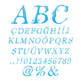 Water alphabet Upper Case Italic. Water, water and water can be used in products that work with letters Stock Photos