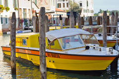 Water ambulance in Venice,. Water ambulance tied to mooring post in Venice, Italy. With over 150 canals in Venice all movement comprises some form of water Royalty Free Stock Photos