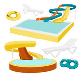 Water amusement park. Playground with slides and splash pads for family fun set abstract illustration. Vector illustration, EPS 10 royalty free illustration