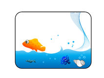 Water animals. On rectangular background royalty free illustration