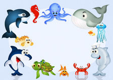 Water animals in the ocean. Illustration of water animals in the ocean vector illustration
