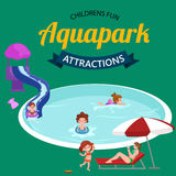 Water aquapark playground with slides and splash pads for family fun vector illustration. Stock Photos