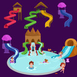 Water aquapark playground with slides and splash pads for family fun vector illustration. Royalty Free Stock Photography