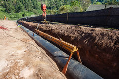 Water Aqueduct Pipeline Installation Stock Image