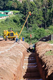 Water Aqueduct Pipeline Trench Construction Royalty Free Stock Photo