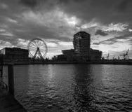 The water area of Hamburg. Ferris wheel. Black and White Bay in Hamburg stock images