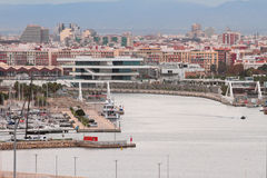 Water area sea port and city in November morning. Valencia, Spain royalty free stock images