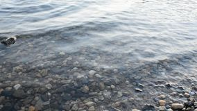 Water area with small stones. And water waves stock video