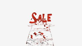 Water arrow. In an arrow of water, percent signs float to the word Sale. 3d illustration isolated on white royalty free illustration