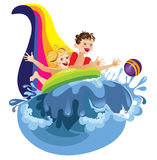 Water attraction. Children going for a drive on water attractions Royalty Free Stock Photos