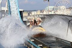 Water attractions at Brighton Pier, Great Britain Stock Photos