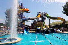 Water attractions at Illa Fantasia Barcelona's Water Park Royalty Free Stock Images