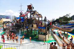 Water attractions at Illa Fantasia Barcelona's Water Park Royalty Free Stock Photo