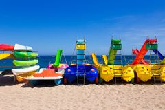 Water attractions waiting for tourists on beach Royalty Free Stock Photos