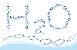 Water background 2. Water background as drops of water in form of H2O and curves of water bulbs as chain stock illustration